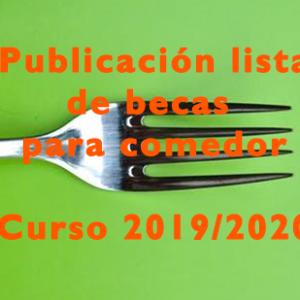 Publicación lista de becas para comedor