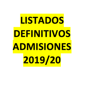 Listado definitivo de  Admisiones 2019/2020