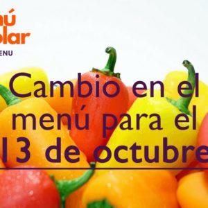 Modificación en el menú (13 octubre)