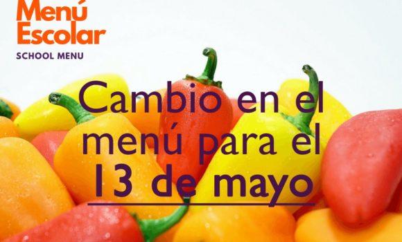 Modificación en el menú (13 mayo)